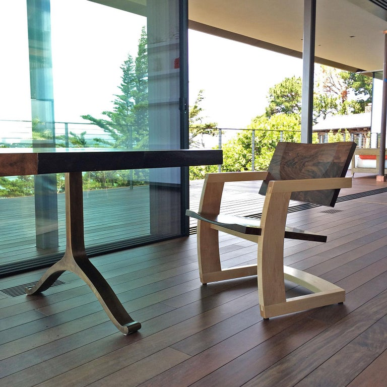 Carved J. Rusten Studio-crafted Palo Alto Cantilevered Lounge Chair in Walnut and Maple For Sale