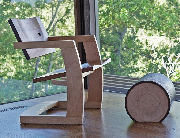 J. Rusten Studio-crafted Palo Alto Cantilevered Lounge Chair in Walnut and Maple In New Condition For Sale In Stockton, CA