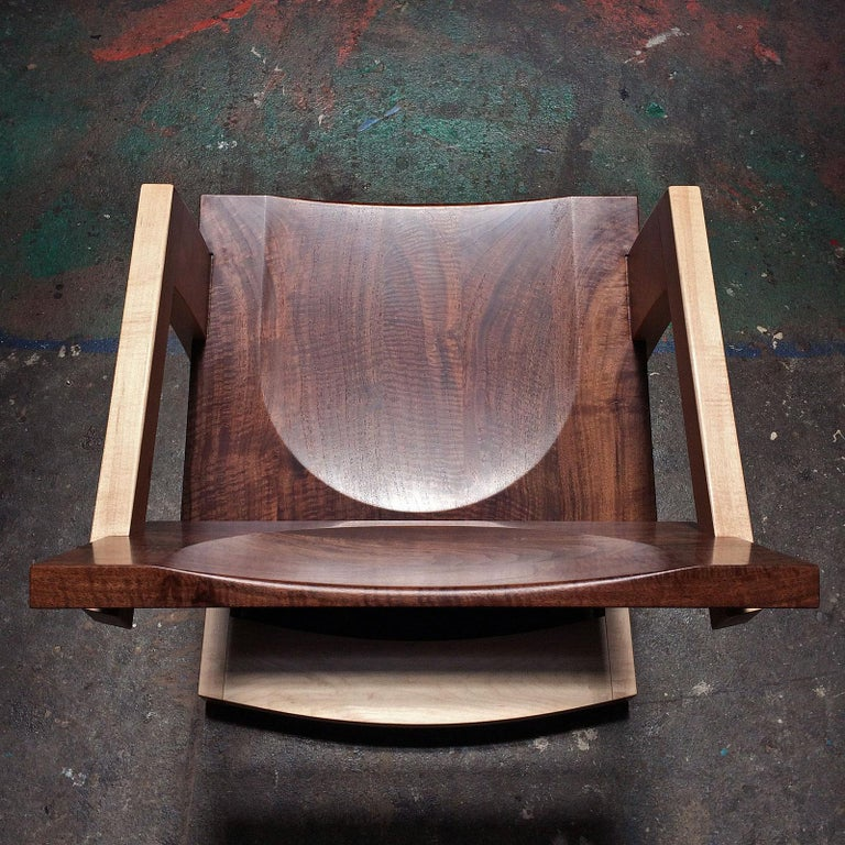 Contemporary J. Rusten Studio-crafted Palo Alto Cantilevered Lounge Chair in Walnut and Maple For Sale