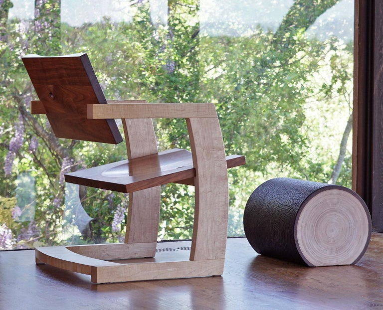 Hardwood J. Rusten Studio-crafted Palo Alto Cantilevered Lounge Chair in Walnut and Maple For Sale