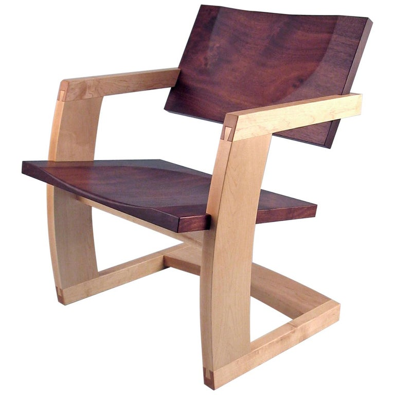 J. Rusten Studio-crafted Palo Alto Cantilevered Lounge Chair in Walnut and Maple For Sale