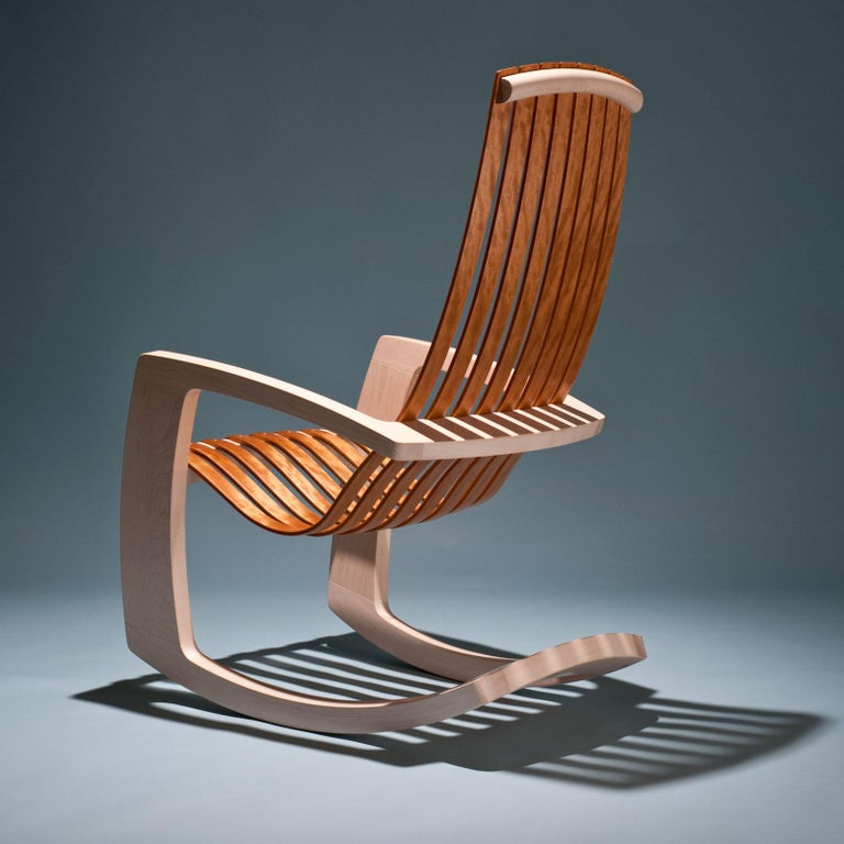 American J. Rusten Studio-Crafted Sculptural Modern Rocking Chair in Maple and Cherry For Sale
