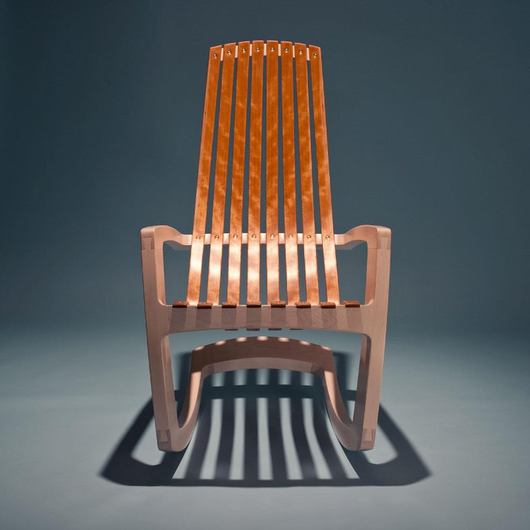 J. Rusten Studio-Crafted Sculptural Modern Rocking Chair in Maple and Cherry In New Condition For Sale In Stockton, CA
