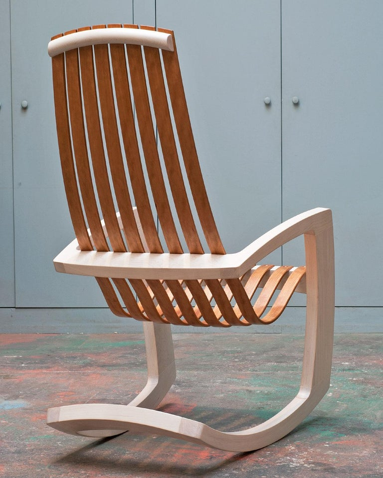 Contemporary J. Rusten Studio-Crafted Sculptural Modern Rocking Chair in Maple and Cherry For Sale