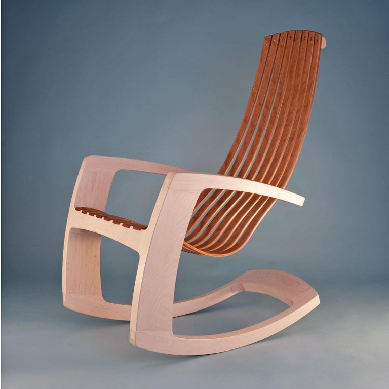 J. Rusten Studio-Crafted Sculptural Modern Rocking Chair in Maple and Cherry For Sale 1