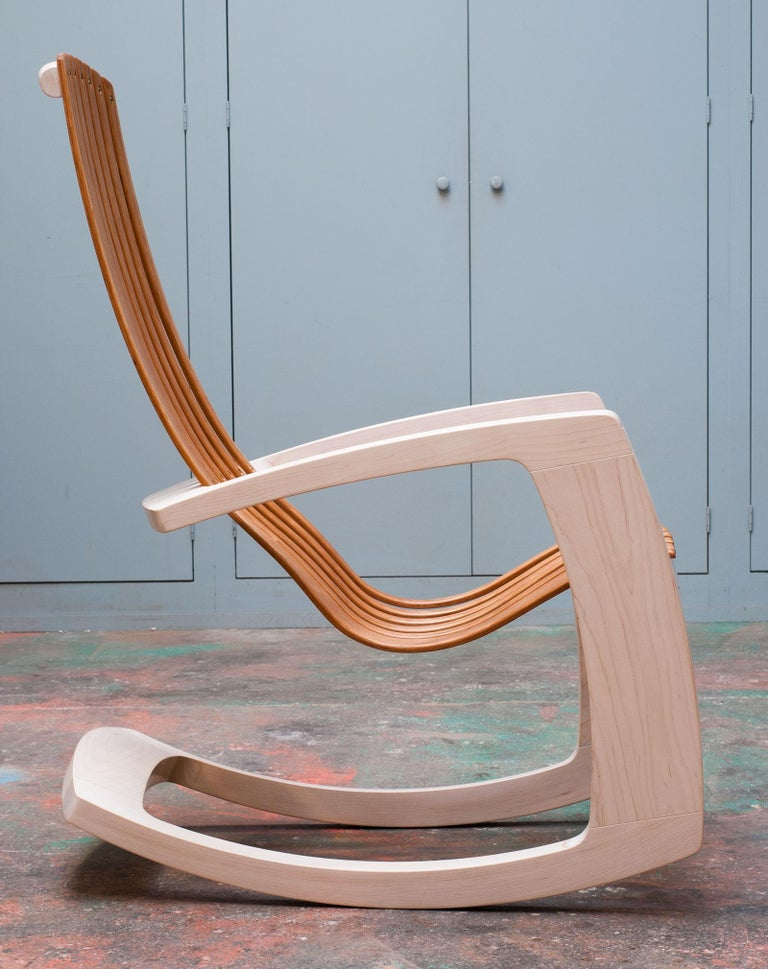 J. Rusten Studio-crafted Sculptural Modern Rocking Chair in Maple and Cherry For Sale 2