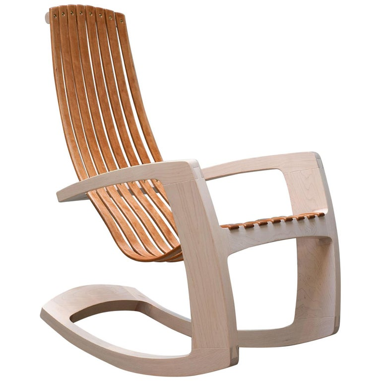 When we set out to design the modern rocking chair we followed a series of directives: it must be extremely comfortable with no upholstery. It must have a high enough back to allow a tall person to rest their head, it must have a sense of visual