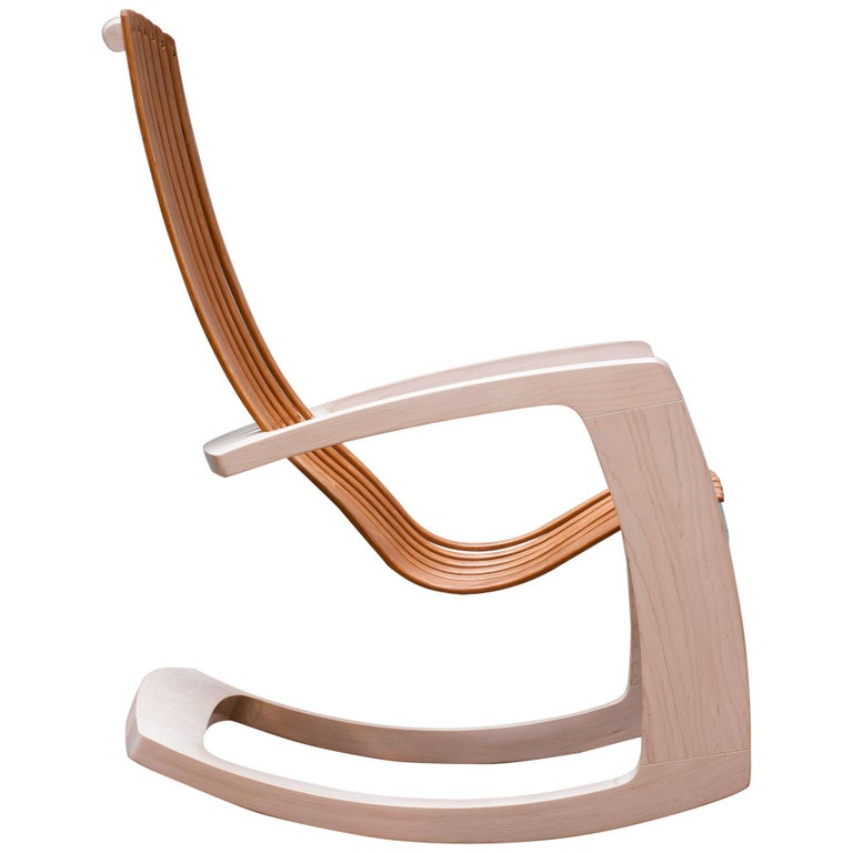 J. Rusten Studio-Crafted Sculptural Modern Rocking Chair in Maple and Cherry For Sale