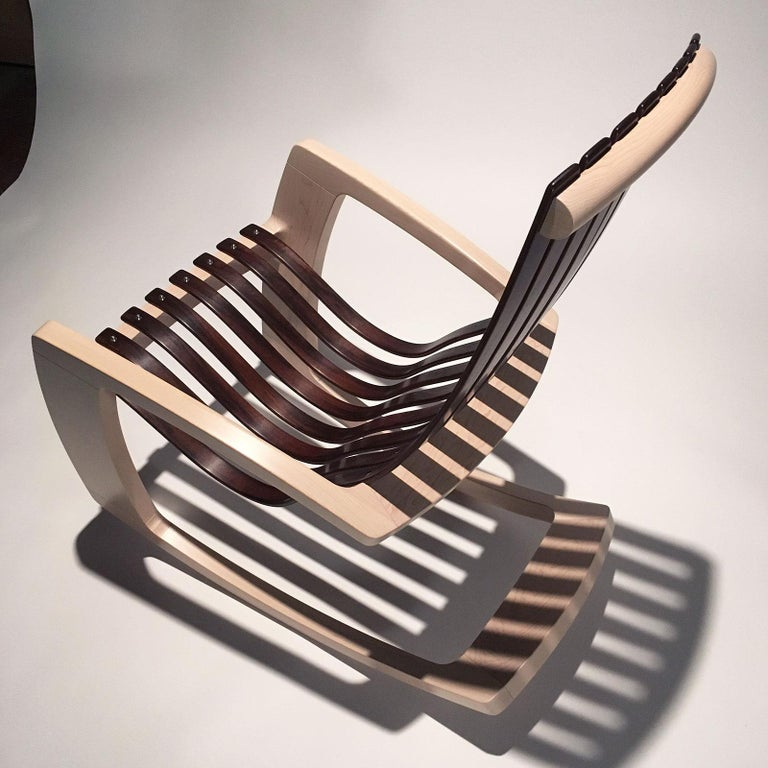 J. Rusten Studio-crafted Sculptural Modern Rocking Chair in Maple and Walnut For Sale 7