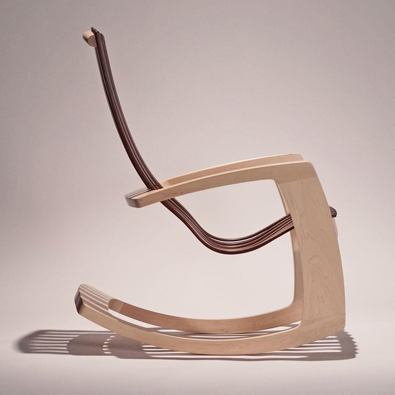 J. Rusten Studio-crafted Sculptural Modern Rocking Chair in Maple and Walnut For Sale 8