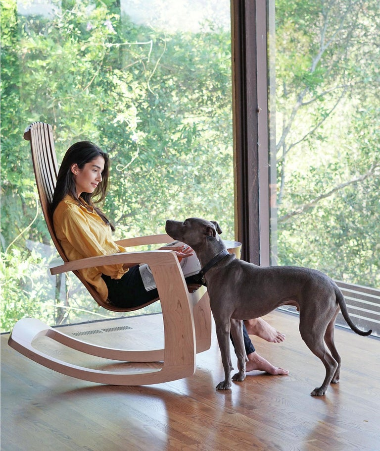 American J. Rusten Studio-crafted Sculptural Modern Rocking Chair in Maple and Walnut For Sale