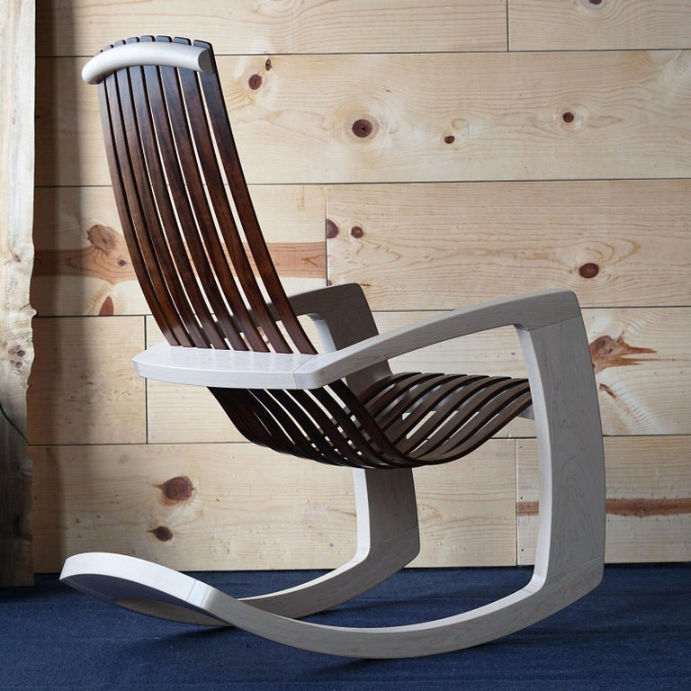 Hand-Crafted J. Rusten Studio-crafted Sculptural Modern Rocking Chair in Maple and Walnut For Sale