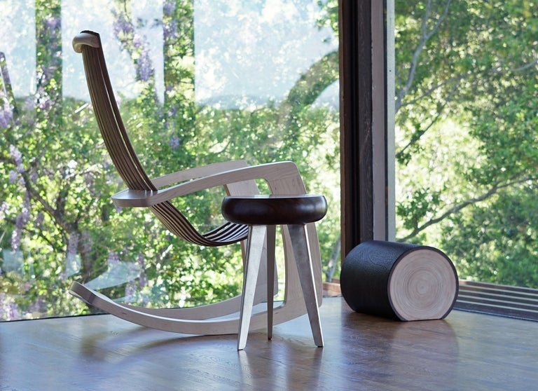 J. Rusten Studio-crafted Sculptural Modern Rocking Chair in Maple and Walnut In New Condition For Sale In Stockton, CA