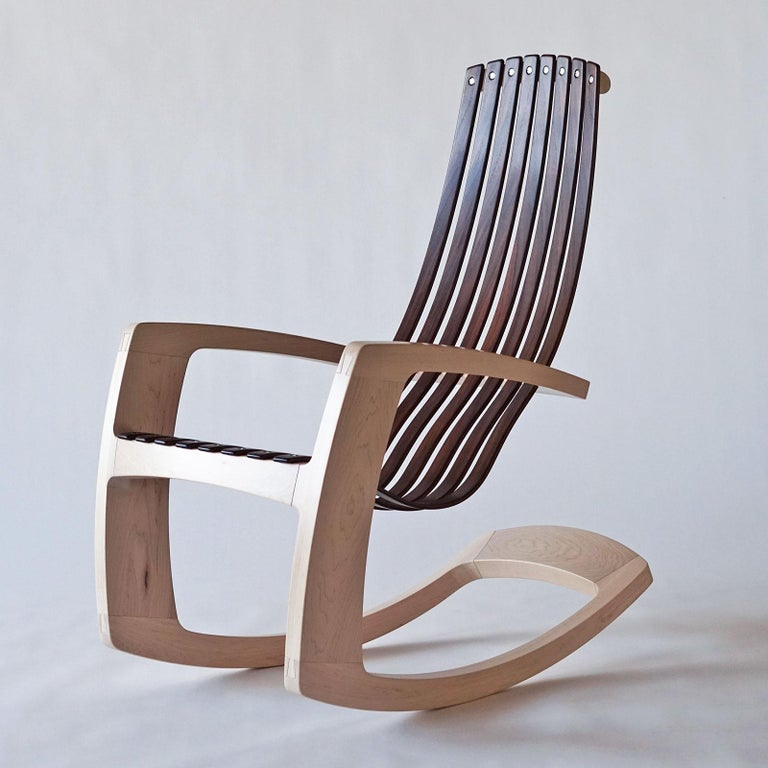 Hardwood J. Rusten Studio-crafted Sculptural Modern Rocking Chair in Maple and Walnut For Sale