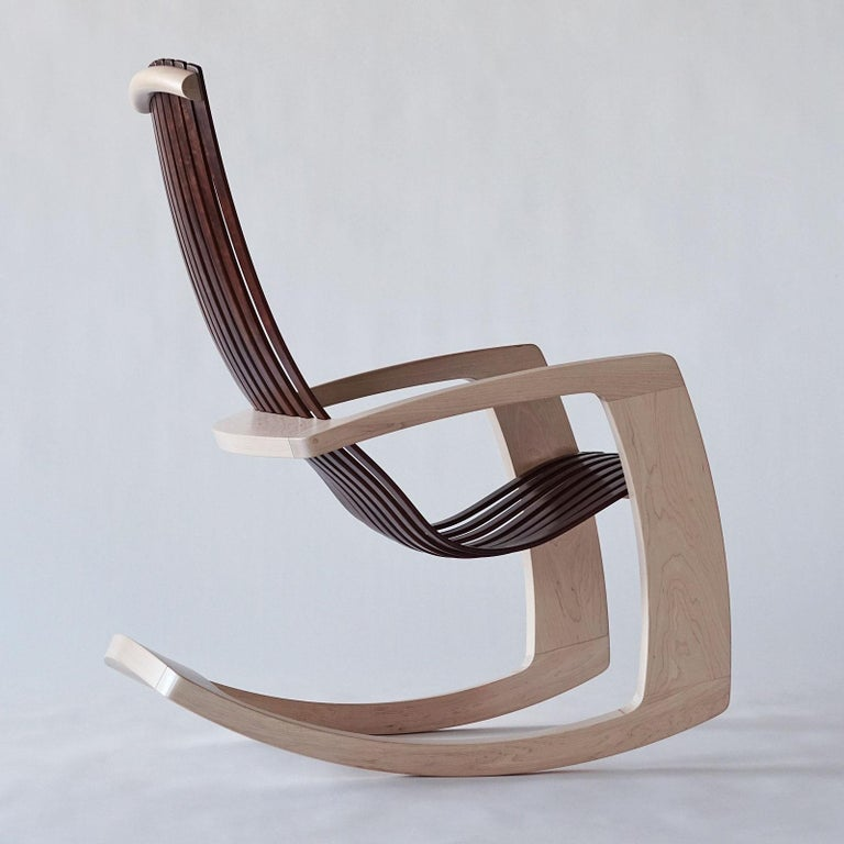 J. Rusten Studio-crafted Sculptural Modern Rocking Chair in Maple and Walnut For Sale 1