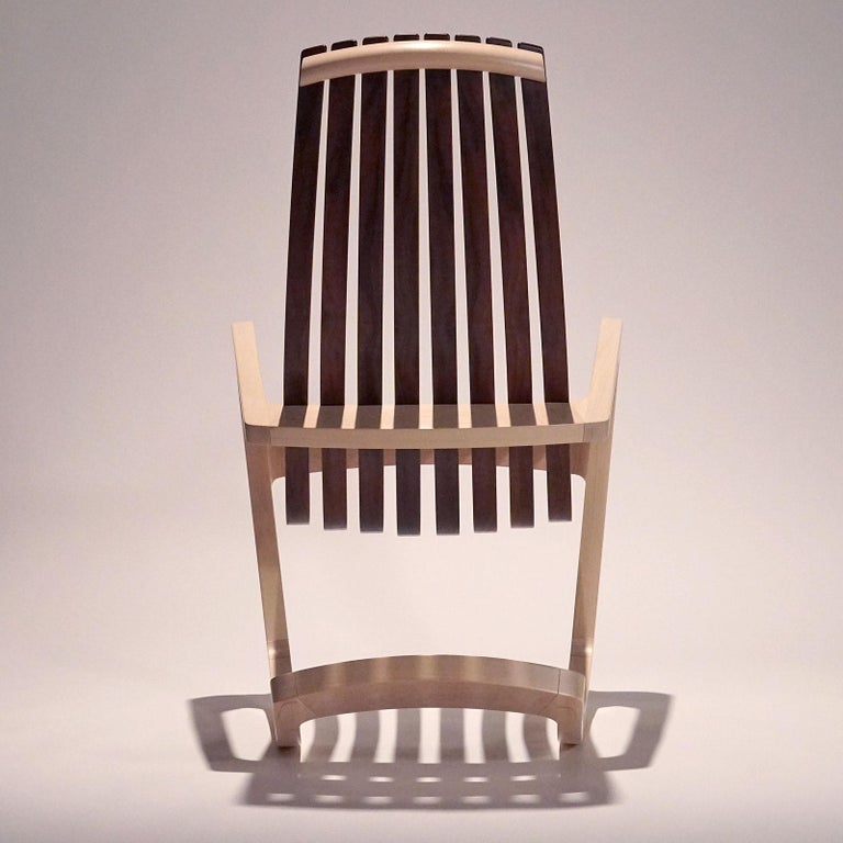 J. Rusten Studio-crafted Sculptural Modern Rocking Chair in Maple and Walnut For Sale 2