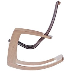 J. Rusten Studio-crafted Sculptural Modern Rocking Chair in Maple and Walnut