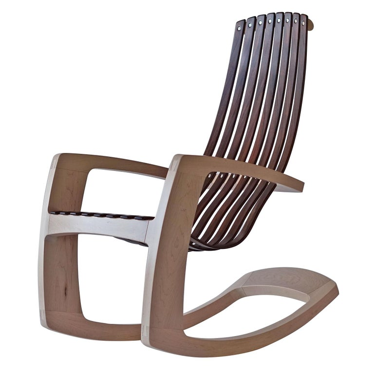 J. Rusten Studio-crafted Sculptural Modern Rocking Chair in Maple and Walnut For Sale