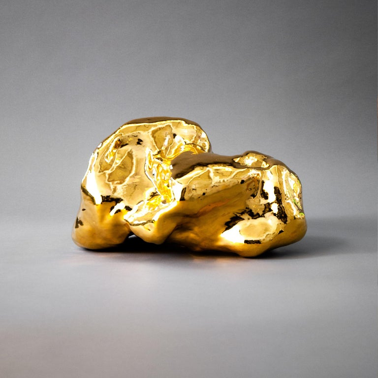 Hand-Crafted J Schatz Studio 2018 Gold Amorphous Sculpture in Stoneware - Organic Modern For Sale