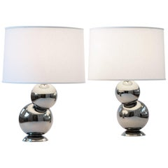J Schatz Studio 2018 Platinum Bubble Table Lamp Pair - Mid Century Mod Stoneware