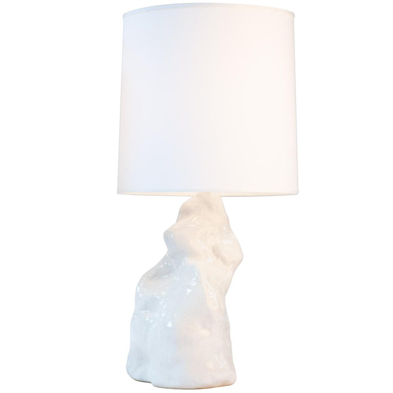 J Schatz Studio 2018 White Amorphous Table Lamp Pair - Modern, One Of A Kind For Sale 1