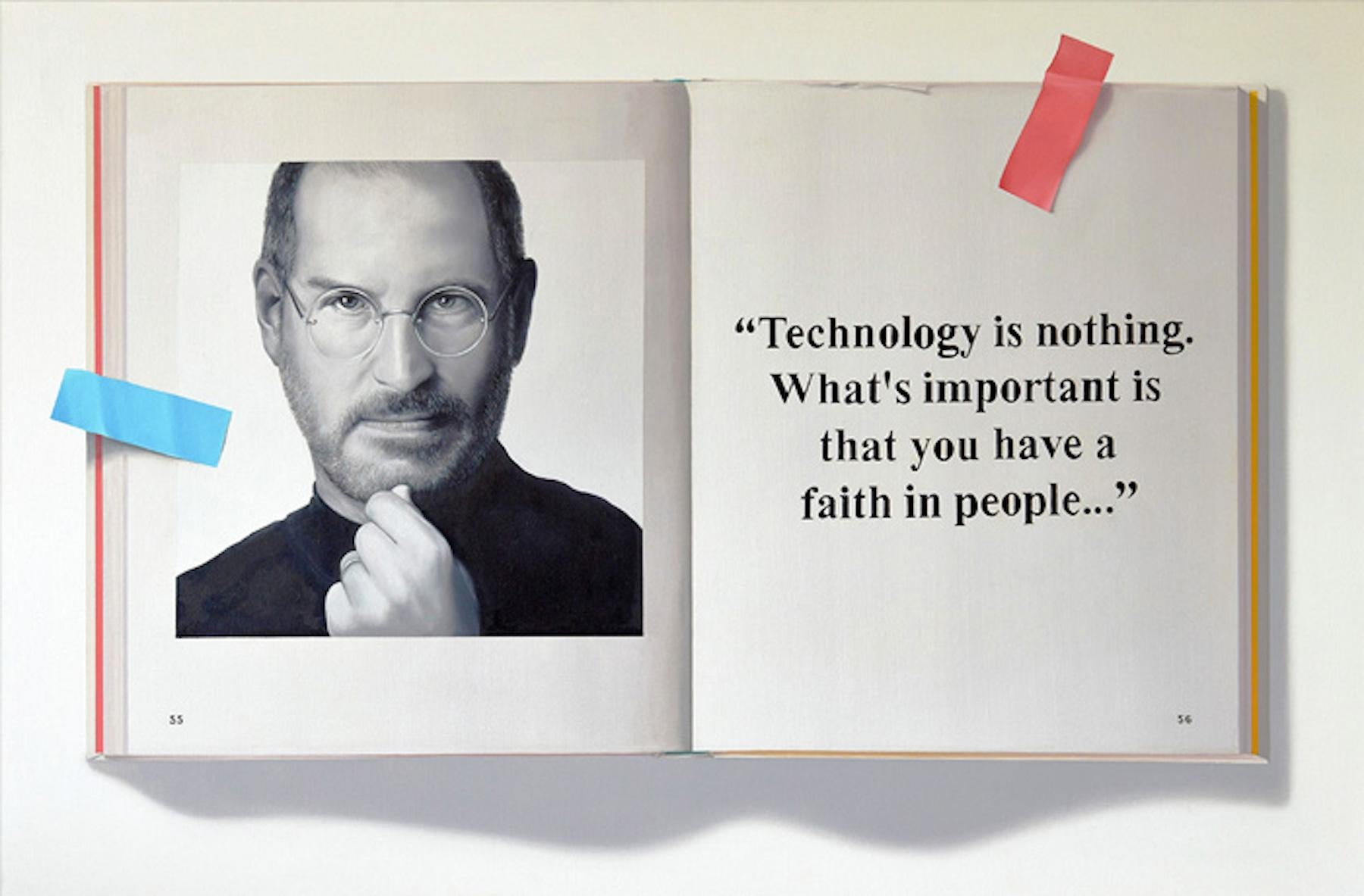 Steve Jobs Apple Computer Technology Is Nothing  -- Original Oil Painting