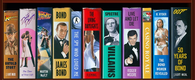 50 Years of Bond Bookcase 2/150 Giclee -- Please see video For Sale 1