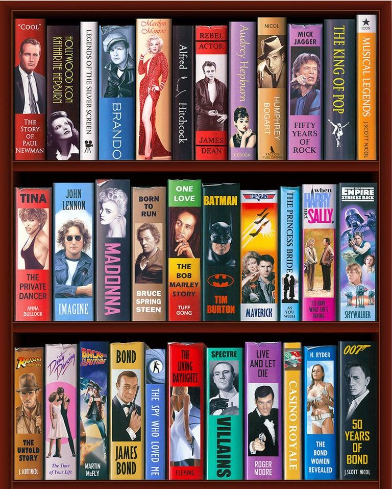 J. Scott Nicol Interior Print - 50 Years of Bond Bookcase 2/150 Giclee -- Please see video