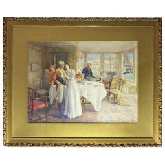 J. Shaw-Crompton 'The Farewell' Large Watercolor Painting, circa 1890
