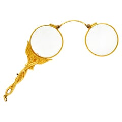 J. Solinger & Co. 14 Karat Gold Serpent Dragon Lorgnette Glasses Pendant