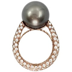 J. Stella 18 Karat Rose Gold Tahitian Pearl and Pavé Diamond Cocktail Ring