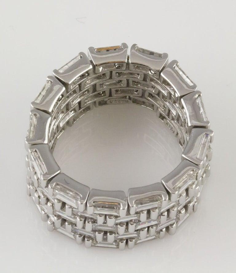 Contemporary J. Stella Baguette Cut Diamond Platinum Flexible Band Ring For Sale