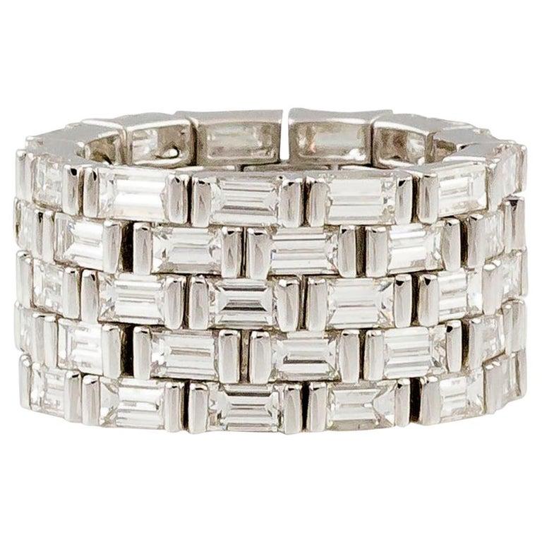 J. Stella Baguette Cut Diamond Platinum Flexible Band Ring For Sale