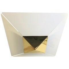 J T Kalmar Modernist Glass & Brass Flush Mount 1970s Mid-Century Modern