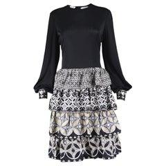 J Tiktiner Vintage Ruffled 1970s Jersey Dress