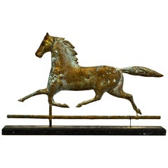 J. W. Fiske Attributed Large Horse Weathervane on Base with Attractive Patina