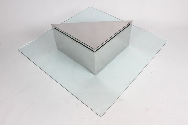 J. Wade Beam for Brueton, Monolithic Triangular Base and Glass Top Coffee Table For Sale 3