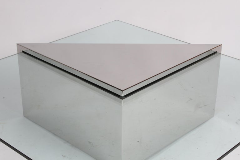 J. Wade Beam for Brueton, Monolithic Triangular Base and Glass Top Coffee Table For Sale 4