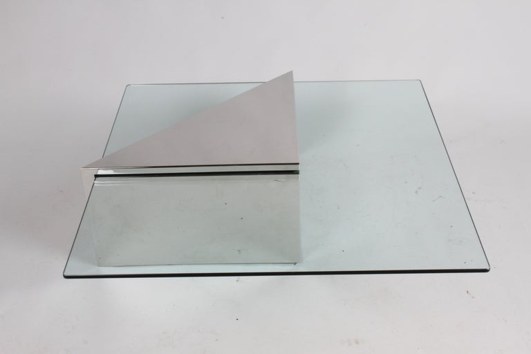 Mid-Century Modern J. Wade Beam for Brueton, Monolithic Triangular Base and Glass Top Coffee Table For Sale