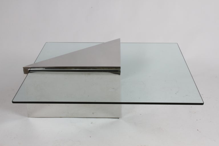 J. Wade Beam for Brueton, Monolithic Triangular Base and Glass Top Coffee Table In Good Condition For Sale In St. Louis, MO