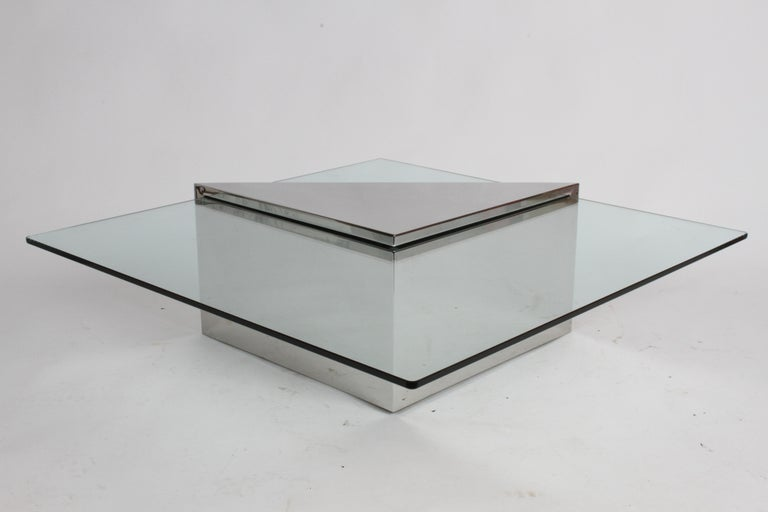 J. Wade Beam for Brueton, Monolithic Triangular Base and Glass Top Coffee Table For Sale 1