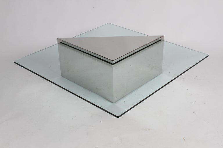 J. Wade Beam for Brueton, Monolithic Triangular Base and Glass Top Coffee Table For Sale 2