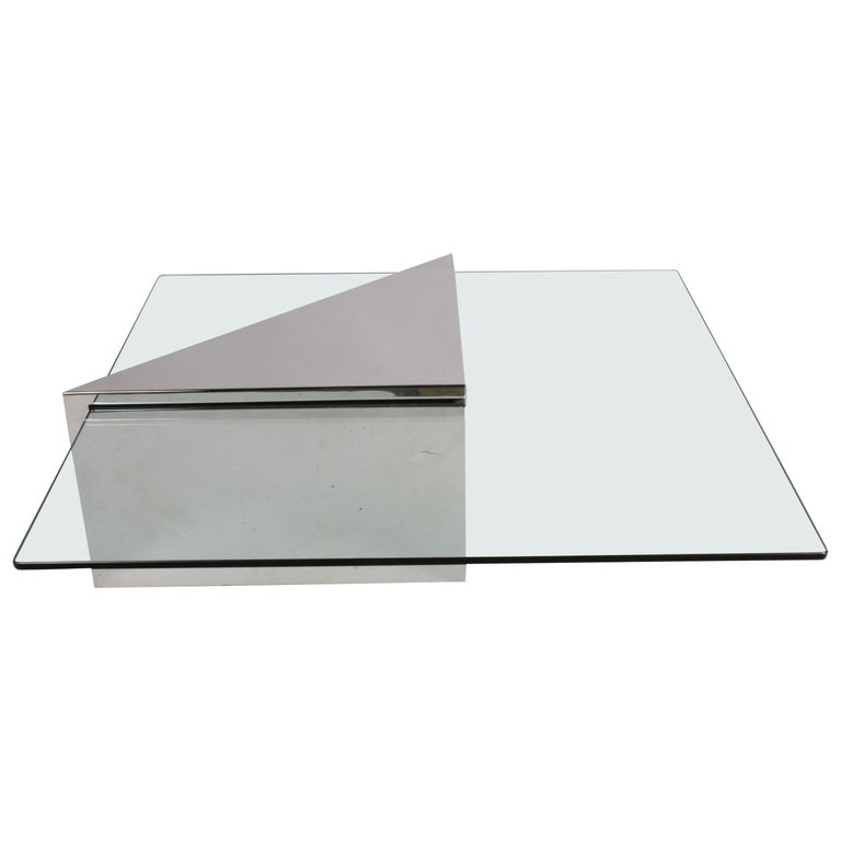J. Wade Beam for Brueton, Monolithic Triangular Base and Glass Top Coffee Table For Sale
