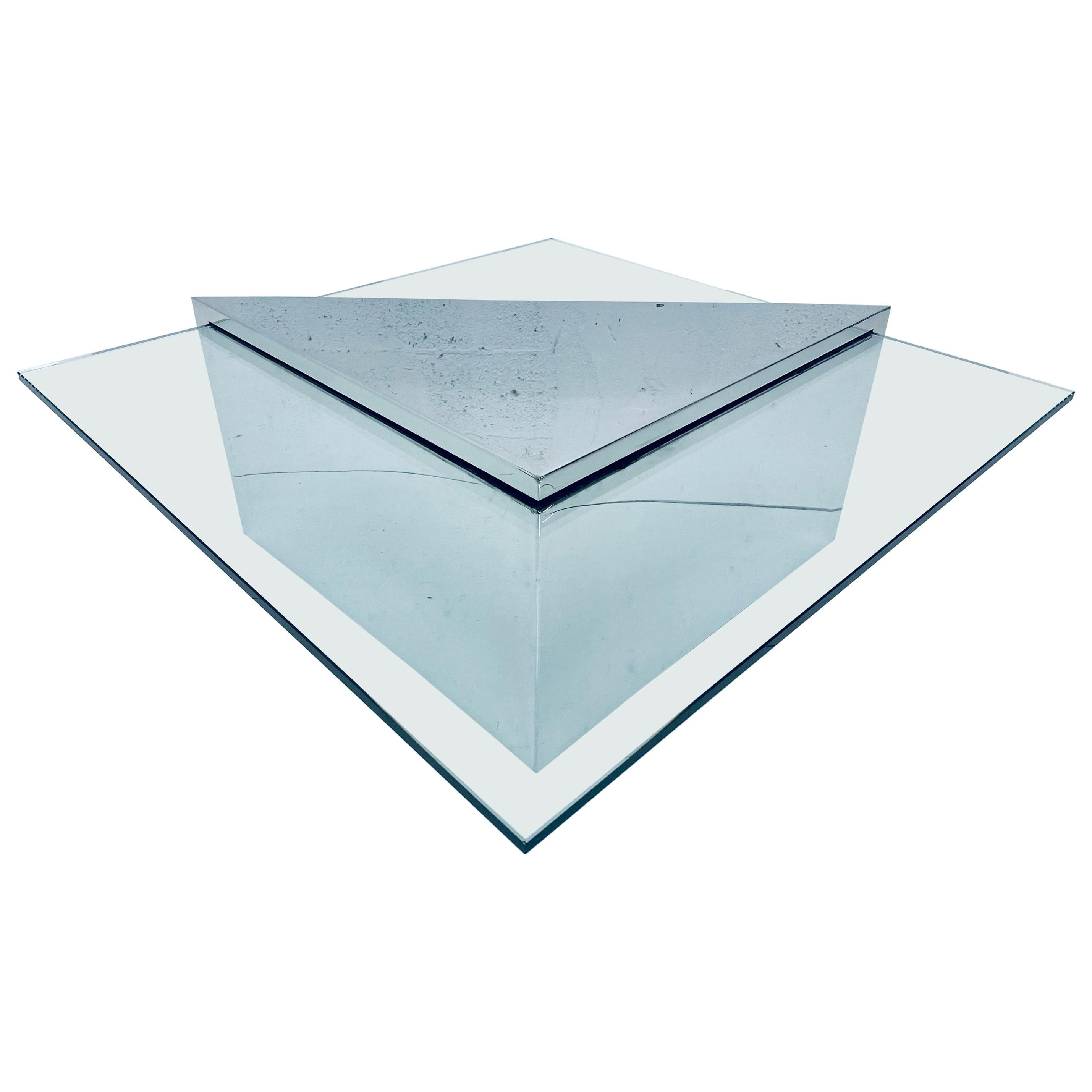 J. Wade Beam Polished Steel and Cantilevered Glass Coffee Table for Brueton