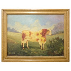 J. Winters, 20th Century Naive Signed Oil Painting of a Shorthorn Bull, Wall Art