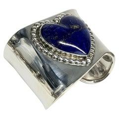 J. Wright Estate Navajo Sterling Silver Lapis Lazuli Cuff Bracelet