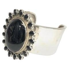 J. Wright Navajo Sterling Silver Onyx Cuff Estate Bracelet