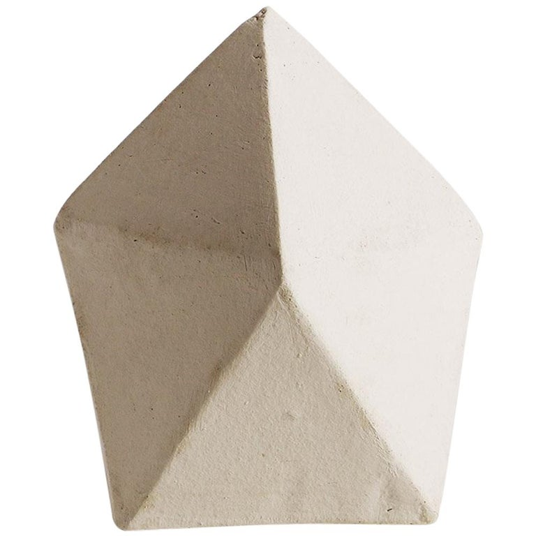 'J10' Geometric Ceramic Sculpture with White Finish For Sale