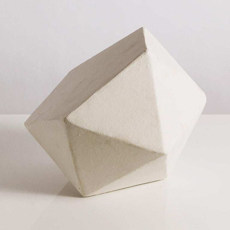 Modern 'J11' Geometric Ceramic Sculpture with White Finish For Sale