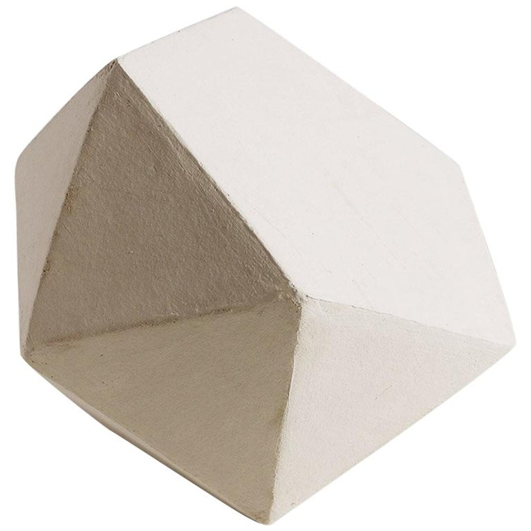 'J11' Geometric Ceramic Sculpture with White Finish For Sale